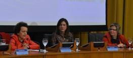 Ministra Eleonora Menicucci (SPM); Luiza Carvalho (ONU Mulheres para Américas e Caribe); e Nadine Gasman (ONU Mulheres no Brasil) durante palestra sobre o progresso das mulheres no mundoValter Campanato/Agência Brasil