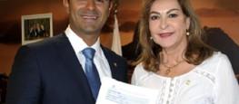 Deputada Dâmina e o Deputado Felipe Bornier, membro da Mesa Diretora da Câmara.